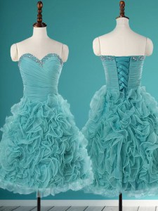 Great Turquoise Sleeveless Mini Length Beading and Ruffles Lace Up Prom Party Dress