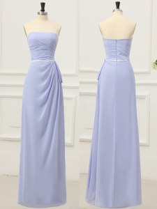Top Selling Ruching and Belt Dress for Prom Lavender Zipper Sleeveless Floor Length