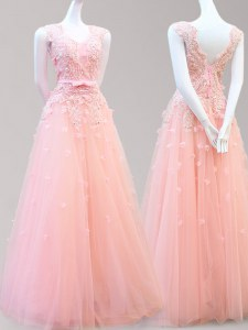 Glamorous Sleeveless Floor Length Appliques and Bowknot Lace Up Evening Dress with Baby Pink