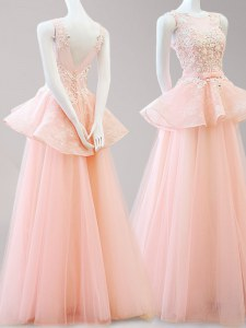 Dramatic Scoop Peach Tulle Backless Prom Dress Sleeveless Floor Length Appliques and Belt