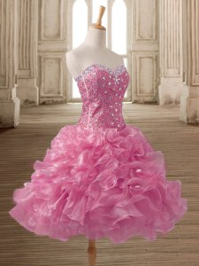Delicate Mini Length Pink Homecoming Dress Sweetheart Sleeveless Lace Up