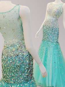Affordable Mermaid Scoop Side Zipper Homecoming Dress Turquoise for Prom with Beading Brush Train