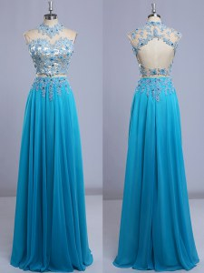 Chiffon High-neck Cap Sleeves Backless Beading and Lace Prom Evening Gown in Baby Blue