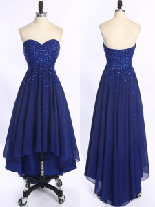 Royal Blue Chiffon Zipper Sweetheart Sleeveless High Low Homecoming Dress Beading