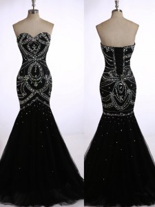 Suitable Mermaid Black Zipper Prom Party Dress Beading Sleeveless Brush Train