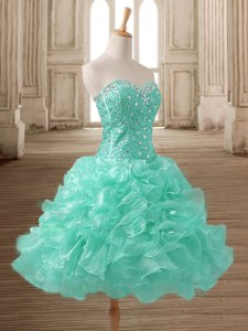 Delicate Apple Green Sleeveless Beading and Ruffles Tea Length Dress for Prom