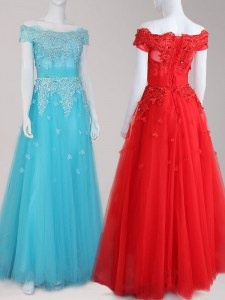 Off The Shoulder Cap Sleeves Prom Evening Gown Floor Length Beading and Appliques Aqua Blue Tulle