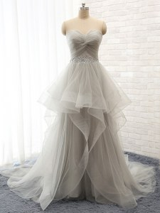 Nice Grey Homecoming Dress Prom and For with Beading and Ruffles Sweetheart Sleeveless Court Train Lace Up