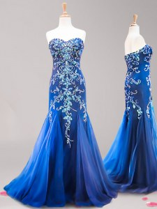 Best Selling Mermaid Royal Blue Tulle Zipper Evening Dress Sleeveless Brush Train Beading and Appliques