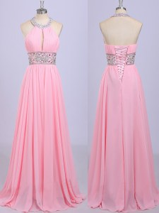 Traditional Chiffon Halter Top Sleeveless Zipper Beading and Belt Prom Party Dress in Rose Pink