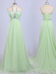 Halter Top Beading Prom Gown Yellow Green Zipper Sleeveless Court Train