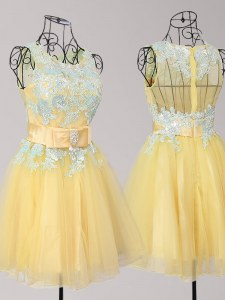 Mini Length Yellow Prom Party Dress Scoop Sleeveless Zipper