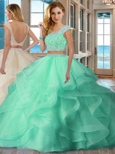 Fantastic Scoop Cap Sleeves Floor Length Beading and Ruffles Backless Vestidos de Quinceanera with Apple Green