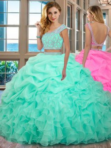 Fashion Scoop Cap Sleeves Beading and Ruffles Backless Sweet 16 Dresses