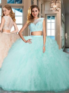 Elegant Aqua Blue Bateau Zipper Appliques and Ruffles Quinceanera Dresses Cap Sleeves