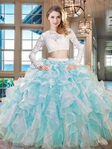 Extravagant Scoop Long Sleeves Zipper Floor Length Beading and Lace and Ruffles Sweet 16 Quinceanera Dress