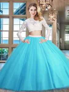 Latest Baby Blue Scoop Neckline Beading and Lace 15th Birthday Dress Long Sleeves Zipper