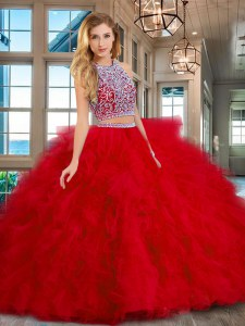Most Popular Scoop Red Backless Quinceanera Dress Beading and Ruffles Sleeveless Floor Length