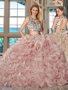 Scoop With Train Two Pieces Cap Sleeves Pink Vestidos de Quinceanera Brush Train Backless