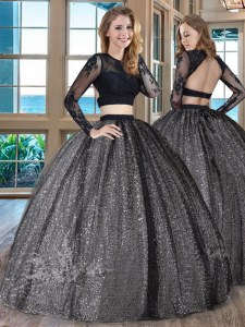 Latest Scoop Appliques 15th Birthday Dress Black Backless Long Sleeves Floor Length