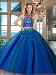 Best Selling Two Piece HalterHalter Top Royal Blue Backless Halter Top Beading 15th Birthday Dress Tulle Sleeveless Brush Train