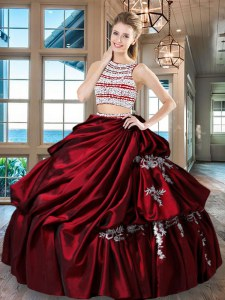Unique Scoop Wine Red Taffeta Backless Sweet 16 Dress Sleeveless Floor Length Beading and Appliques and Pick Ups