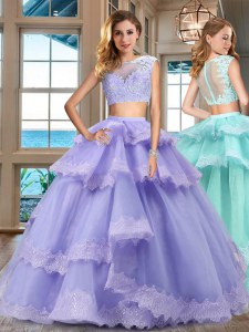 Luxury Lavender Two Pieces Lace and Appliques and Ruffled Layers Sweet 16 Dresses Zipper Tulle Cap Sleeves Floor Length
