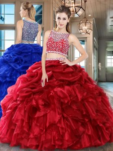 Wine Red Bateau Side Zipper Beading and Ruffles and Pick Ups Sweet 16 Quinceanera Dress Sleeveless