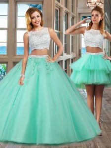 Floor Length Apple Green Vestidos de Quinceanera Bateau Sleeveless Side Zipper