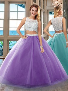 Purple Sleeveless Floor Length Beading Side Zipper Quinceanera Gown