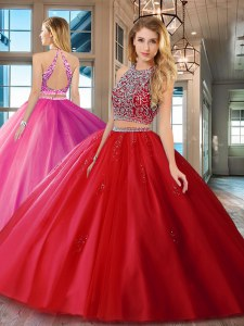 Floor Length Red 15th Birthday Dress Scoop Sleeveless Backless