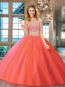 High Class Two Pieces Quinceanera Dress Watermelon Red Scoop Tulle Sleeveless Floor Length Backless