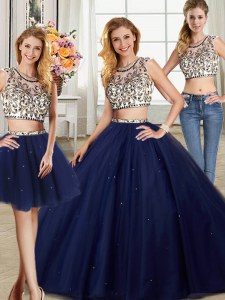 Fantastic Three Piece Scoop Beading Quinceanera Gown Navy Blue Backless Cap Sleeves With Brush Train