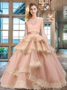 Customized Scoop Peach Cap Sleeves Floor Length Beading and Lace and Appliques and Ruffled Layers Zipper Vestidos de Quinceanera
