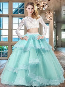 High Quality Tulle and Lace Scoop Long Sleeves Zipper Beading and Lace and Ruffled Layers 15th Birthday Dress in Aqua Blue