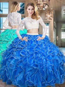 Scoop Organza Long Sleeves Floor Length Vestidos de Quinceanera and Beading and Lace and Ruffles