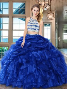 Dazzling Royal Blue Backless Scoop Beading and Ruffles and Pick Ups Sweet 16 Dresses Organza Sleeveless