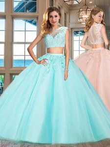 Adorable Aqua Blue Cap Sleeves Appliques Floor Length 15 Quinceanera Dress