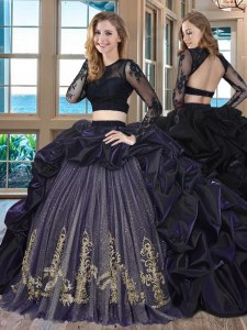 Cute Scoop Long Sleeves Brush Train Embroidery and Pick Ups Backless 15 Quinceanera Dress