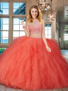 Scoop Floor Length Backless Quinceanera Gowns Orange Red for Military Ball and Sweet 16 and Quinceanera with Beading and Ruffles