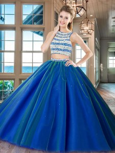 Custom Fit Royal Blue Two Pieces Scoop Sleeveless Tulle Floor Length Backless Beading Quinceanera Dresses