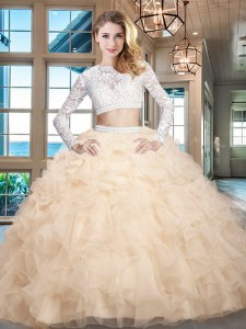 Scoop Champagne Two Pieces Beading and Lace and Ruffles Quinceanera Gowns Zipper Organza Long Sleeves Floor Length