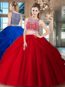 Modest Red 15th Birthday Dress Military Ball and Sweet 16 and Quinceanera and For with Beading and Pick Ups Bateau Sleeveless Side Zipper