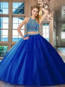Glamorous Royal Blue Two Pieces Tulle Scoop Sleeveless Beading Floor Length Backless Quince Ball Gowns