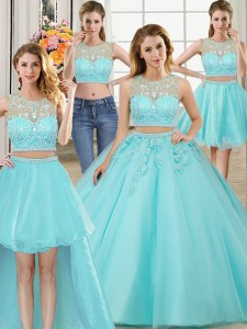Flare Four Piece Ball Gowns Ball Gown Prom Dress Aqua Blue Scoop Tulle Sleeveless Floor Length Zipper
