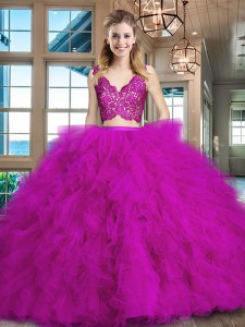 Wonderful Fuchsia Two Pieces Lace and Ruffles Sweet 16 Dress Zipper Tulle Sleeveless