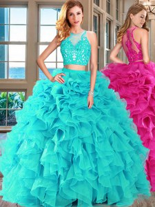 Top Selling Scoop Aqua Blue Two Pieces Appliques and Ruffles Sweet 16 Dress Lace Up Organza Sleeveless Floor Length