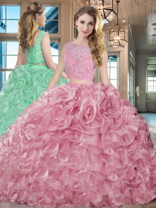 Organza Bateau Sleeveless Brush Train Lace Up Lace and Ruffles Sweet 16 Quinceanera Dress in Pink