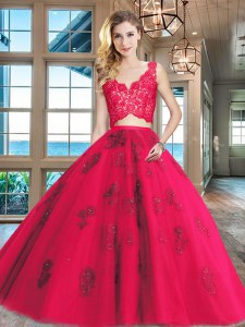 Red Two Pieces Lace and Appliques Vestidos de Quinceanera Zipper Tulle Sleeveless Floor Length
