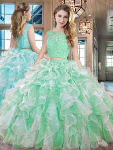 Floor Length Two Pieces Sleeveless Apple Green Ball Gown Prom Dress Lace Up